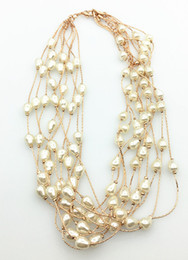 Wholesale Multi Strand Silver Pearl Necklace - Multi Strands Pearl Necklace Short Station Necklace With Teardrop Pearl in Multi Colors As a Gift