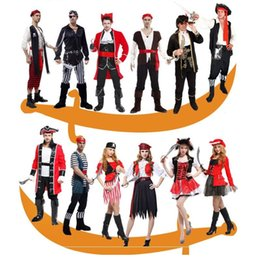 clothing for pirates Coupons - Masquerade Party Pirate Halloween Carnival Party Costume Captain Adult Fancy Cosplay Clothing for Women Men Lover's Pirate Dress