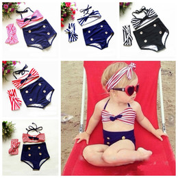 Wholesale Baby Swim Suits - Fashion kids girls swimmers bathers clothes kids baby girls bikini suit summer kids halter striped bow swimwaer swimming clothes