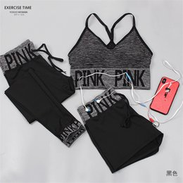 Wholesale girls underwear fitness - Pink Letter Tracksuit Three-piece set Bra + Shorts + Long Pants Outfit Women Underwear Crop Top Bra Vest Shorts Pants Fitness Yoga Gym Suit