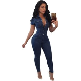 denim jumpsuits women rompers Coupons - 2018 Women Jumpsuit Denim Overalls Summer Short Sleeve Button Down Casual Jeans Bodycon Jumpsuit Rompers Long Trousers Plus Siz