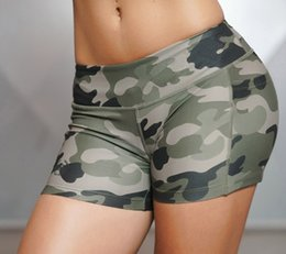 Wholesale mark side - Women Sexy Sport Shorts Camo Shorts With Side Phone Pocket Fitness Cross Training Cardio Cycling Sexy Yoga Tights