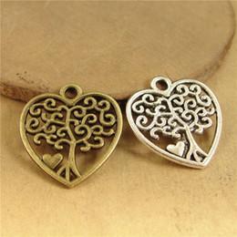 648f0a1c4662 100 unids 17   18 MM ornamento de la Aleación de amor Árbol Colgante de  encantos