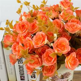 Canada En gros 1 Bonquet 14 Têtes Persan Rose Fleurs Artificielles Élégant Simulation Fleurs En Soie De Mariage Décor Offre