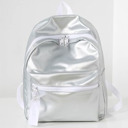 Wholesale Cute Laptop Backpacks - Female silver holographic laser pu lady school bag teenage girl cute boy retro laptop backpack