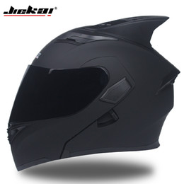 double flip motorcycle helmet Promo Codes - JIEKAI 902 Motorcycle helmets Double Visors Modular Flip Up helmet DOT approved Full face casque moto racing Motocross helmet