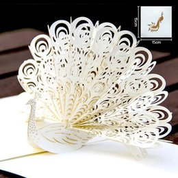 Wholesale origami handmade - Hollow Peacock Handmade Kirigami Origami 3D Pop UP Greeting Cards Invitation Of Wedding Postcard For Birthday Wedding Party Gift
