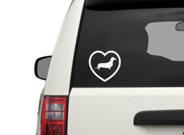Wholesale car love stickers - Car styling for I love Dachshund sticker, Dog Animal Vinyl Decal, Car stickers
