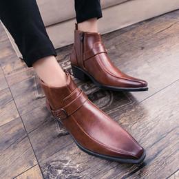 2019 mens tobillo botas correas WEISHIMIBANG Vogue Fashion Forward Mens Brown Botines Cuadrados Toe Buckle Strap Hombre Negro Martin Boots Hombres Botas de zapatos altos mens tobillo botas correas baratos