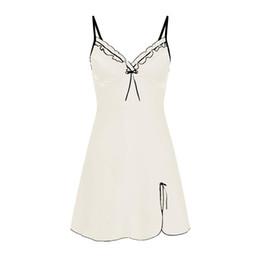 Schlankes nachthemd online-Womens Sling V-Ausschnitt Slim Nighte Kleid falten Bogen Dessous Babydoll Nachtwäsche Sleepkirt Nacht Kleid Nachthemd #SW S923