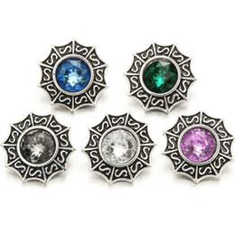 ganchos de botão antigo Desconto 20 pçs / lote 18mm strass snap botão charme de cristal antigo de prata Retro jóias de metal Ginger snap fechos ganchos fit pulseira colar