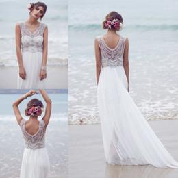 Wholesale Casablanca Silk Wedding Dresses - Sparkly Bohemian Beach Wedding Dresses 2018 Silk Chiffon Hand Beaded Crystal Bling Boho Vestido De Novia White Ivory Bridal Gowns