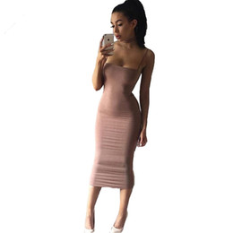 Wholesale basic cotton long dress - New Strapyy Double Layered Cotton Bodycon Midi Dress Summer Dress Basic Club Sexy Party Long Slip Female Woman Dresses Vestidos