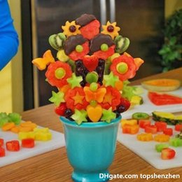 Frutas vegetales que tallan herramientas online-Pop Chef cocina ensalada de frutas tallar molde vegetal talla cortador de fruta molde decoración de la torta flores montado molde cocina herramientas vegetales