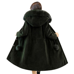Wholesale Wool Army Winter Overcoat - 2018 New Winter Women Lamb Wool Coat Faux Fur Long Hooded Ladies Elegant Outwear Warm Thick Plus Size Loose Cashmere Overcoat