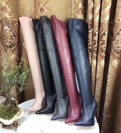 Wholesale Over Knee Suede Beige - New Arrival 2018 Real Pictures Newest Women Black Leather Pointed Toe Gladiator Heel Over the Knee Thigh High Boots Brand designer style