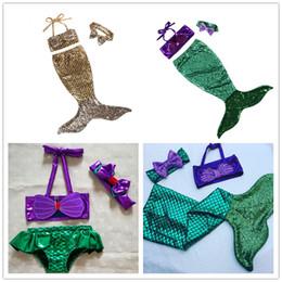Wholesale Infant Fairy - Girls mermaid skirt 3pcs sets bow headband+bikini tube top+fish tail dress infants kids mermaid cosplay costume clothing performance