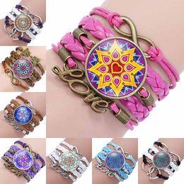 Wholesale leather bracelets flowers - Fashion mandala flower Glass Cabochon Infinity Love Leather Bracelet For Girls Women time gemstone Accessories Jewelry Gift drop ship 320053