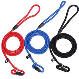 guinzaglio del cavo di scivolamento del cane Sconti Pet Dog Nylon Corda Guinzaglio da addestramento Slip Lead Strap Collare regolabile da trazione Pet Animali Forniture di corda Accessori 0.6 * 130cm WX9-656