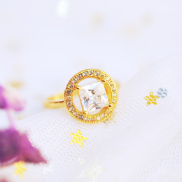 Wholesale Wholesale Asian Products - New style group drill ( synthetic stone ) + single drill 24k gold-plated ring ladies fashion new products can be a large number of wholesale