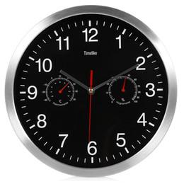 Wholesale Silent Wall Clocks - Silent Quartz Metal Wall Clock Thermometer Hygrometer Quiet Sweep Movement No-ticking Home Art Decor New Design Movement No-ticking Home Art