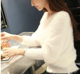 Outono e inverno nova versão sul-coreana da mohair manga de manga comprida mohair casaco com decote em v com um suéter de cor curto, puro. de Fornecedores de pele de raposa tingida