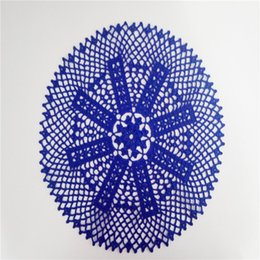Tapete de ganchillo azul oscuro, encaje tapete redondo, tapetes de algodón, tocador tapete, mantel de ganchillo, mantel de encaje 13.6 pulgadas desde fabricantes