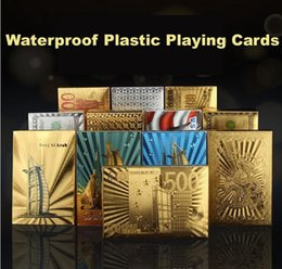 Wholesale 24k cards - Poker Card Gold foil plated Playing Cards Plastic Poker Waterproof Golden Poker Cards Dubai 24K Plated Table Games