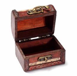 Wholesale jewelry treasure box - 2017 Lock Jewelry Treasure Case Handmade Wooden Storage Boxes Bins
