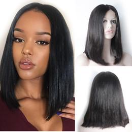 Canada Forawme 150% Densité Pré Arraché Raides Cheveux Humains Bob Perruques Pour Femmes # 1B Naturel Noir Dentelle Avant Perruques Taille Moyenne Cap Real Virgi cheap real wigs for women Offre