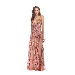 Vestidos de spandex brilhantes on-line-2018 New Style Women Evening Long Shiny Red Bandage Dresses Vestido
