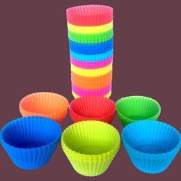 Molde de copo para o bolo on-line-7 cm Bakeware Forma redonda Silicone Muffin Cup bolo Mold Bakeware Criador Mould Tray Baking Cup Forro Baking Moldes B