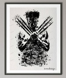 Wholesale Hanging Pictures - Original Wolverine watercolor wall art canvas painting superhero poster print Pictures kids room Home Decor wall hanging sticker