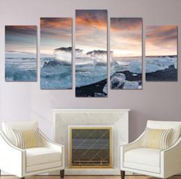 Paneles de paisaje marino online-5 Paneles Lienzo Arte de la pared Marco de Fotos Decoración para el hogar Habitación Cartel Frozen Seascape Ice Cube Sunrise Paisaje HD Pintura