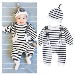 Wholesale Infant Bodysuits Baby - Princess Newborn Baby boys Girls Clothes stripe caps baby bibs Rompers sets Baby Clothing Sets Infant Jumpsuit summer autumn bodysuits
