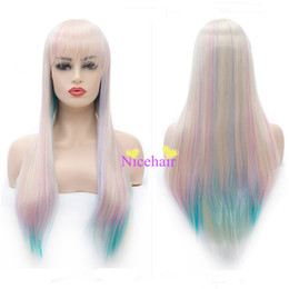 Wholesale cheap blue wigs - Fashion & Luxurious Long Naural Curly Blonde pink blue mixed Colored Wig Cheap High Temperature Fiber Party Wigs Cosplay Wigs