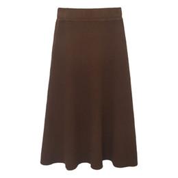 Wholesale Korean Slim Skirt - Hot Explosion Vintage Knit Black Skirt Women Autumn Korean Style Slim Solid High Waist Office Skirts Womens Free Shipping 2017