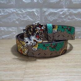 Wholesale tigers belt - 2018 Men's Genuine Leather Belts For Men Belt Tiger Head Buckle High Quality Designer Luxury Strap Male Belts Jeans Cintos