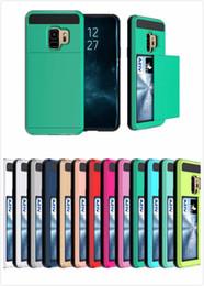 Canada En gros hybride Armure Carte Slide Case Slot Portefeuille Couverture PCTPU Couverture arrière pour Iphone 6/7/8 / X Plus Samsung S8 S9 Plus cas cheap armor wallet wholesale Offre