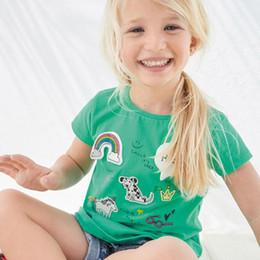 Wholesale Girls T Shirts Dogs - 2018 NEW ARRIVAL girl Kids 100% Cotton Short Sleeve rainbow dog print T shirt girls causal summer t shirt