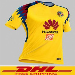Wholesale Thailand Jersey Wholesalers - DHL free shipping Hot Sale 2017 2018 MX Club America Away Soccer Jerseys 2018 America Third Away Yellow Thailand quality Football Shirt wel