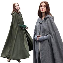 Wholesale green cape coat - Winter Womens Casual loose Hooded Wool Blend Long Cape Cloak Poncho Coat Outwear C8