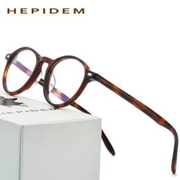Wholesale Oliver Eyeglasses - Acetate Glasses Frame Men Oliver Women Round Prescription Spectacles Vintage People Johnny Depp Full Optical Eyeglasses Eyewear 9103