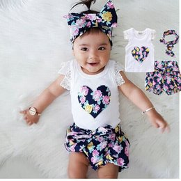 Wholesale purple heart clothes - Summer kids baby girl loving heart outfits clothes cute fashion T-shirt printing hair band tops+pans fit for 3-8years old children 2pcs set