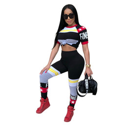 Wholesale Two Color Knit Sweater - Women Tracksuits Slim Fit Two Piece Fashion Multi color Stripe Gym Clothing Sportwear Sweater Skinny Pencil Sexy Pants Free Shipping