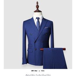 Wholesale Modern Jacket Men - New Custom Made Wool Suits Men Formal Skinny Wedding Tuxedo Gentle Modern Blazer 2Piece Men Suits(Jacket+Pants)Bespoke Suit