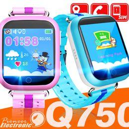 Moniteur enfant wifi en Ligne-Q750 Enfants Smart Watch 1.54 pouces écran tactile GPS Wifi LBS Moniteur SOS Appel Sécurisé Anti-Perdus Localisation Dispositif Tracker pour enfant enfant bady Smart wa