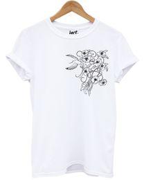 2019 fiore m T-shirt Cherry Blossom T Shirt Logo Floral Humming Bird Fashion Summer Spring Cool Maglietta casual da orgoglio sconti fiore m