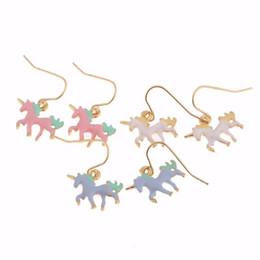 Wholesale Pink Earrings For Girls - New Fashion White Blue Pink Enamel ms Unicorn Earrings Animal Series Earrings Cheap Wholesale Jewelry for Girls