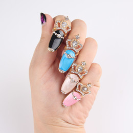 Wholesale Rhinestone Pearl Clusters - Gorgeous Crystal Crown finger joint rings jewelry gift Fashion rhinestone Diamonds crown armor Fingernails Band Cluster Ring Women Accessory